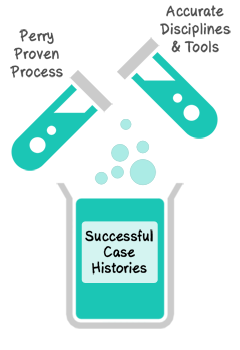 Perry Proven Process - 60%, Accurate Disciplines & Tools - 40%, Successful Case Histories - 100%